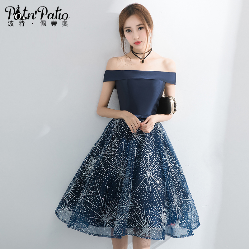 Navy Blue Short Prom Dresses For Graduating Date 2018 Boat Neck Off The Shoulder Shiny Glitters
