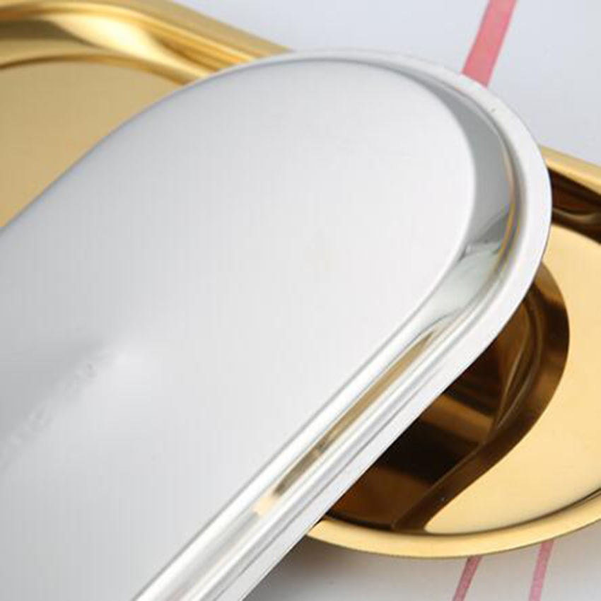 Овальный поднос для хранения ювелирных изделий в скандинавском стиле, поднос для закусок из нержавеющей стали, металлическое золотое украшение, Домашний Органайзер-3