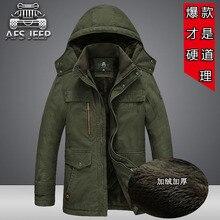 2017 AFS JEEP Männer Winter Jacken plus größe 4XL 5XL Dicke Fleece Baumwolle Gefütterte Mäntel Kapuzen Military Mantel Wasserdicht Winddicht
