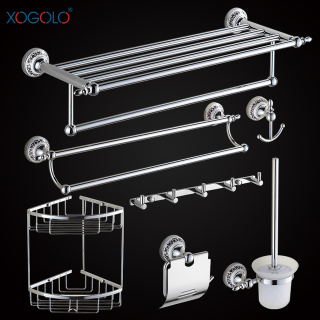 Xogolo Chrome Brushed Copper Bathroom Accessories Bath Towel Shelf Bar Paper Holder Cloth Hook Whole And Retail