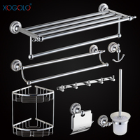 Xogolo Chrome Brushed Copper Bathroom Accessories Bath Towel Shelf Towel Bar Paper Holder Cloth Hook Wholesale And Retail