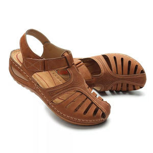 Image 4 - BEYARNESummer kobiety panie dziewczyny wygodne wypoczynek kostki HollowRoundToe sandały miękkie podeszwy buty sandalias de verano para mujer