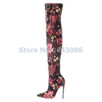 Pointed Toe Basic Thin High Heel Boots Floral Stretch Fabric Over-the-knee Long Boots Sexy Skintight Spring Autumn Women Shoes