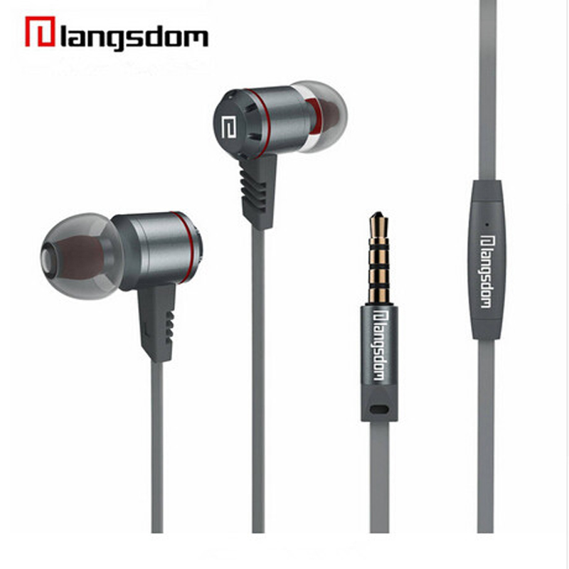 Langsdom M410 Metal Earphone Sports Super Bass In-ear Wired Earphones headset with microphone for mobile phone newest plextone x33m in ear earphones with microphone brand hot super bass wired portable headset for mobile phone ipad mp3 mp4