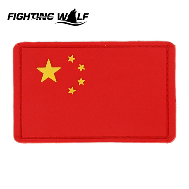 2 Colors Tactical Military Combat Army Chinese National Flag PVC Patch Outdoor Durable ID Identification Badge Hunting Patch