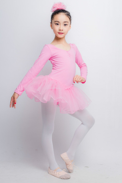 56f6cef4bab2 Child Ballerina Long Sleeve Ballet Dress Leotards Gymnastics Tutu ...