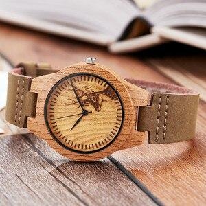Image 2 - Женские часы с имитацией дерева, Модные Аналоговые кварцевые наручные часы с ремешком из мягкой кожи, уникальный дизайн в виде лося