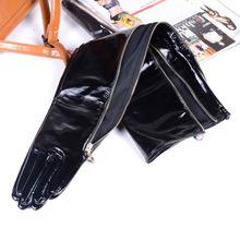 Gants en cuir véritable verni noir brillant, avec fermeture éclair, longueur excessive, pour femmes, 40cm 80cm