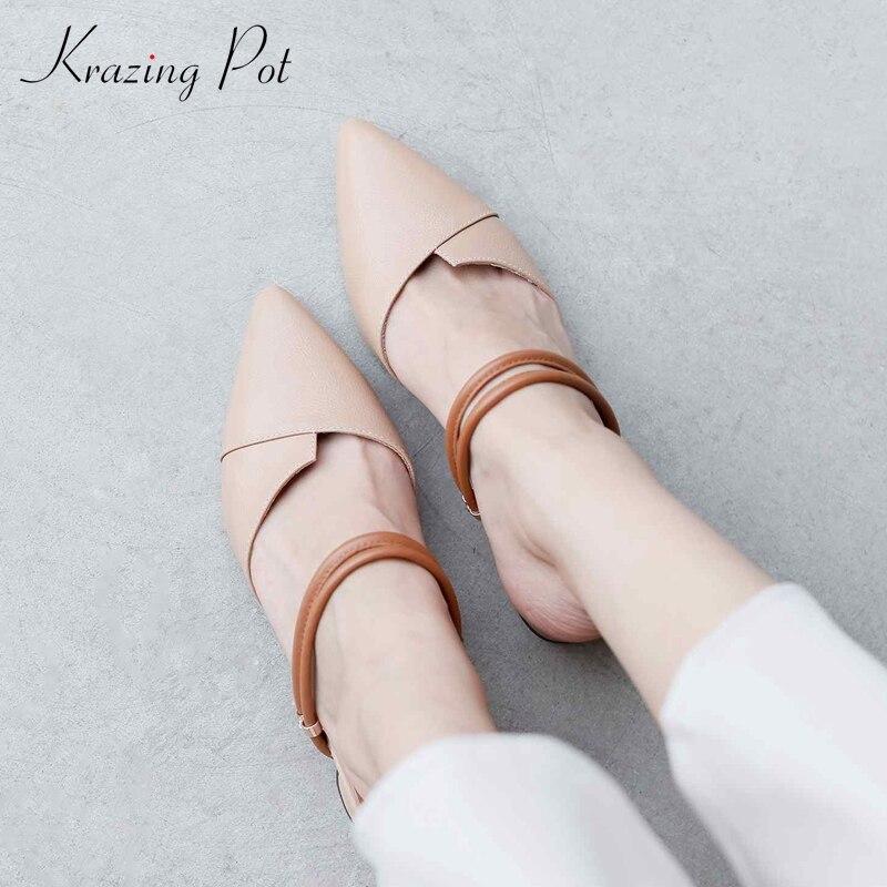 Krazing Pot 2019 genuine leather shallow slip on pointed toe women pumps med heel European gladiator