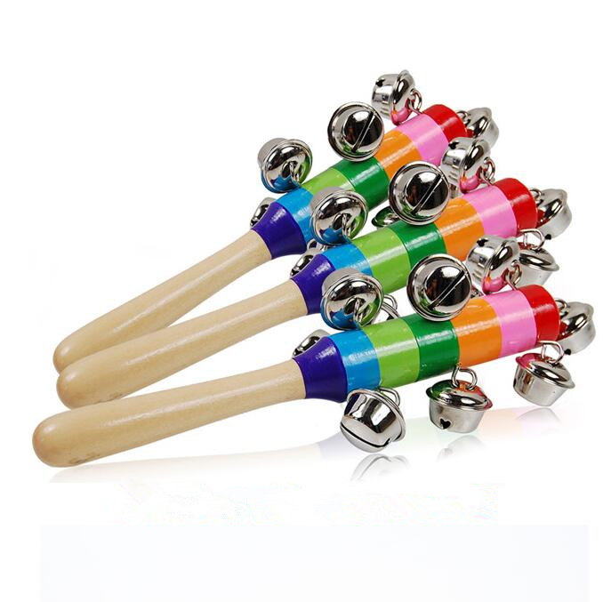 Children's Educational Toys Wooden Rattle Toys Musical Party Favor Child Baby Shaker Toy Baby Colorful Rainbow Rattle