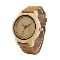 BOBO BIRD LA15 Men Women Bamboo Case Watch With Leather Strap Simple Wristwatch Ship From Russia
