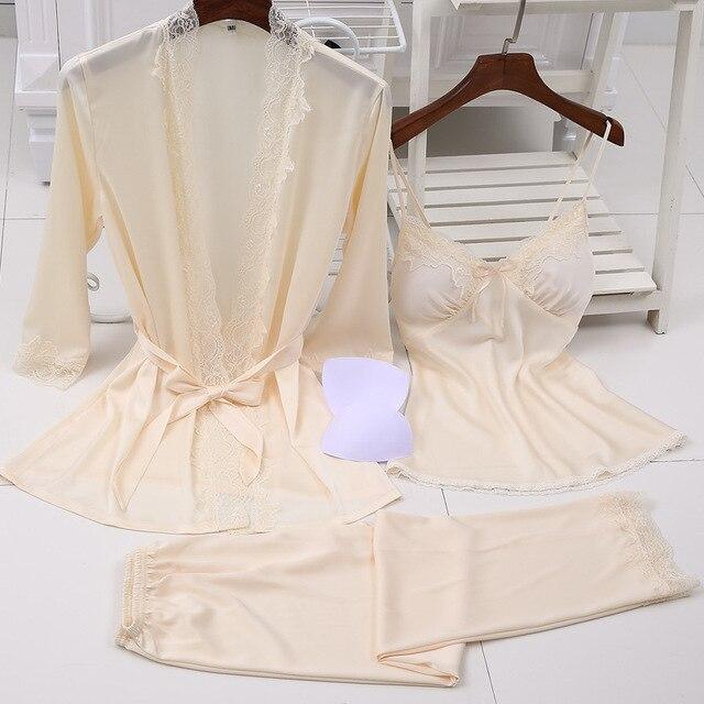 04fa04395a6ce Женский пикантный Шелковый Атласный пижамный комплект, кружевной комплект  для сна, модная Домашняя одежда, v образная Пижама, Халат + топ шт