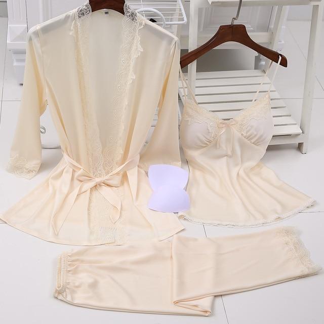 Ladies Sexy Silk Satin Pajama Set Lace Sleepwear Set Fashion Home Clothing V neck Nightwear Bathrobe+Top+Pant 3 Pieces For Women