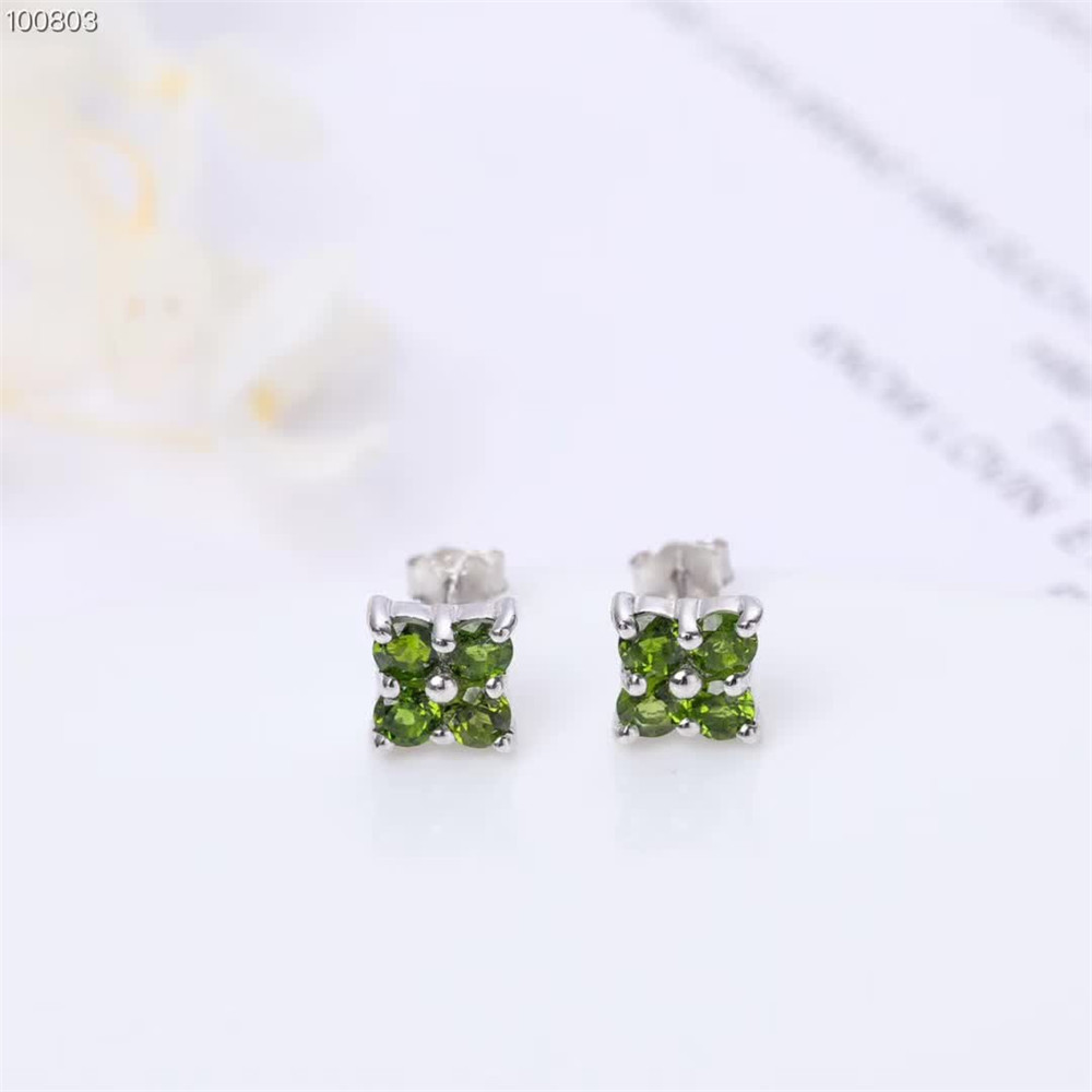 gemstone jewelry manufacturer wholesale fashionable 925 sterling silver natural green diopside flower designed stud earrings in Earrings from Jewelry Accessories