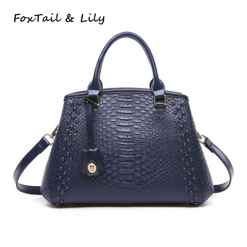 FoxTail & Lily Serpentine Handbag Women Genuine Leather Tote Shoulder Bag Fashion Designer Female Messenger Bags High Quality yuanyu 2018 new hot free shipping python skin women handbag single shoulder bag inclined female bag serpentine women bag