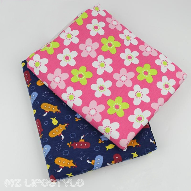 50*170cm printed cotton knitted jersey fabric by half meter DIY sewing stretchy baby clothing making fabric