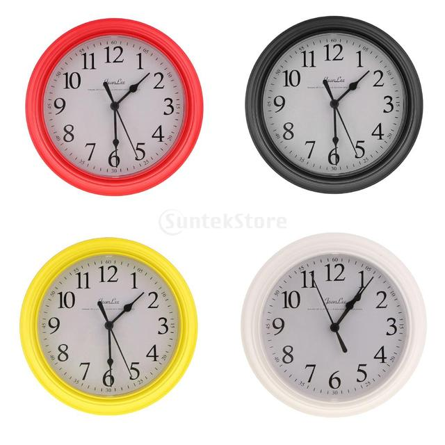 Round Quartz Clock-Wall Clock for Living Room, Bedroom, Kitchen- 22cm Yellow/Red/Black/White