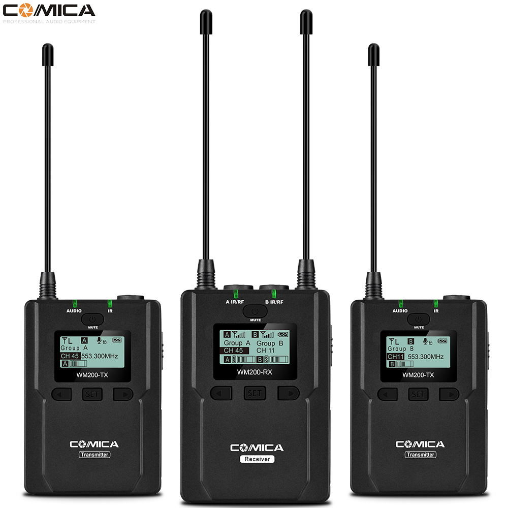 COMICA CVM WM200A/C Metal UHF Wireless Mono/Stereo Lavalier Interview LCD Microphone for Canon Nikon DSLR Camera Camcorder Video