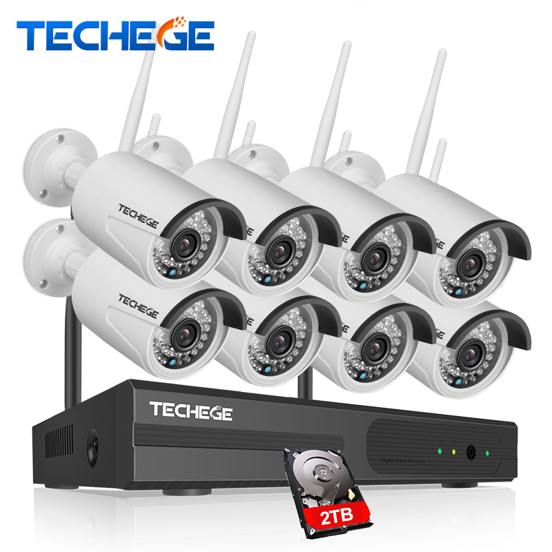 Techege 2016 New Plug And Play 8CH Wireless NVR Kit P2P 1080P HD Outdoor IR IP Video Security CCTV Camera WIFI System plug and play 8ch h 264 nvr wireless
