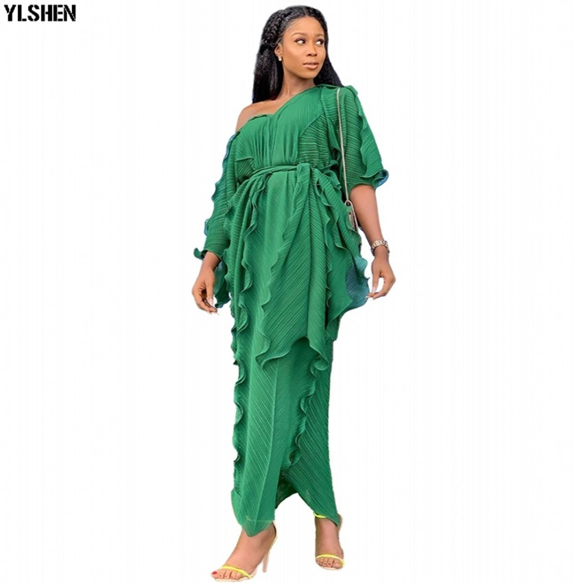 New Style African Dresses For Women Dashiki Falbala African Clothes Dress Bazin Sexy Pleat V-neck Long Africa Maxi Dress Woman