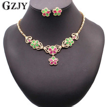 GZJY Luxury Bridal Gold Color Flowers Green Red AAA Zircon Jewelry Sets For Women Wedding Party Jewelry Gift Bijouterie