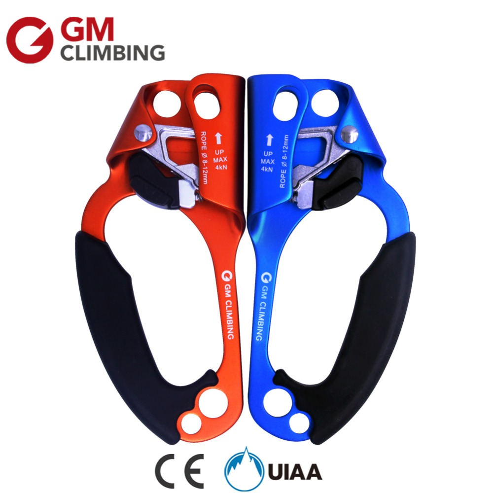 GM Professional Mountaineering Equipment Ascender Climbing Left/Right Hand Rope Ascender CE / UIAA Arborist Rescue Survival Kit e0037 right hand ascender professional aerospace aluminum ascenders for outdoor mountaineering rock climbing