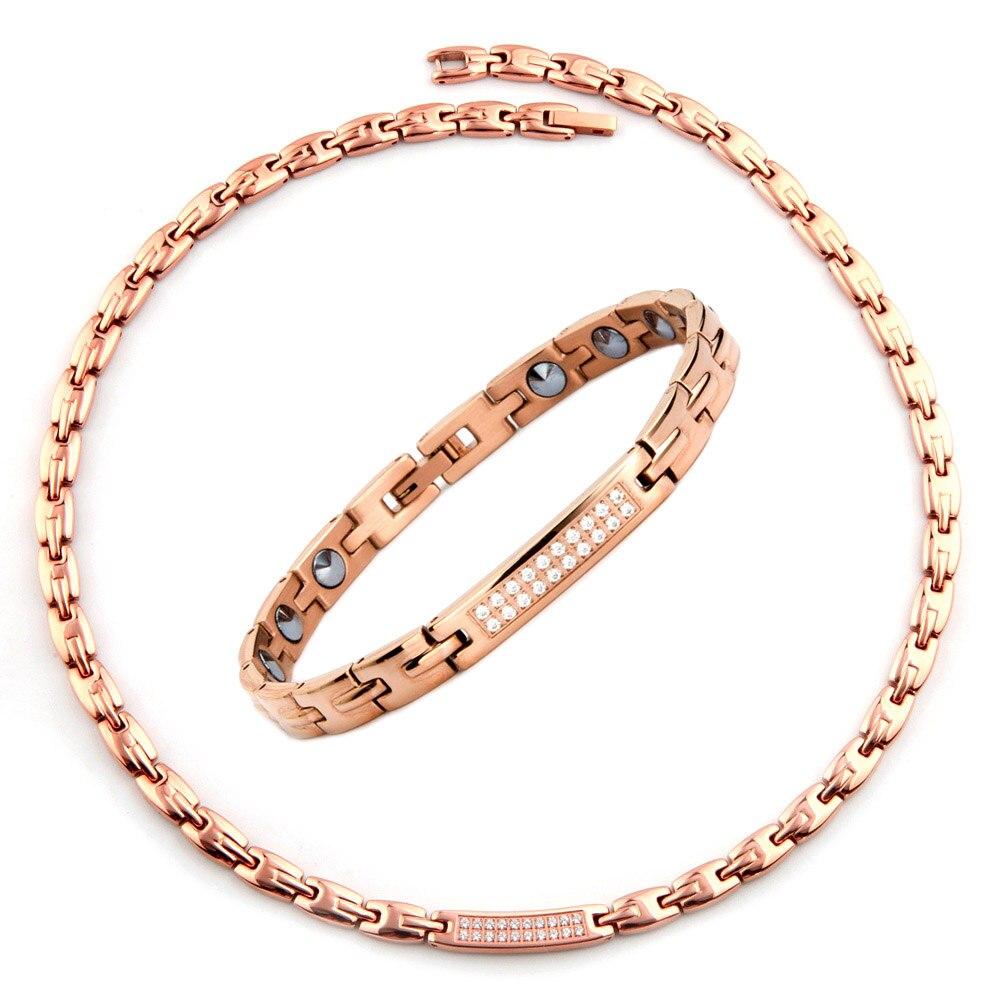 38 модные ювелирные изделия, полностью чистый 99.9% Германий 316L, нержавеющая сталь, розовое германий, золотой браслет, ожерелье, браслеты, ювели
