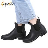 Guapabien Winter Warm Short Boots Stylish Solid Color Water Resistance Ladies Rain Boots Round Toe Chunky