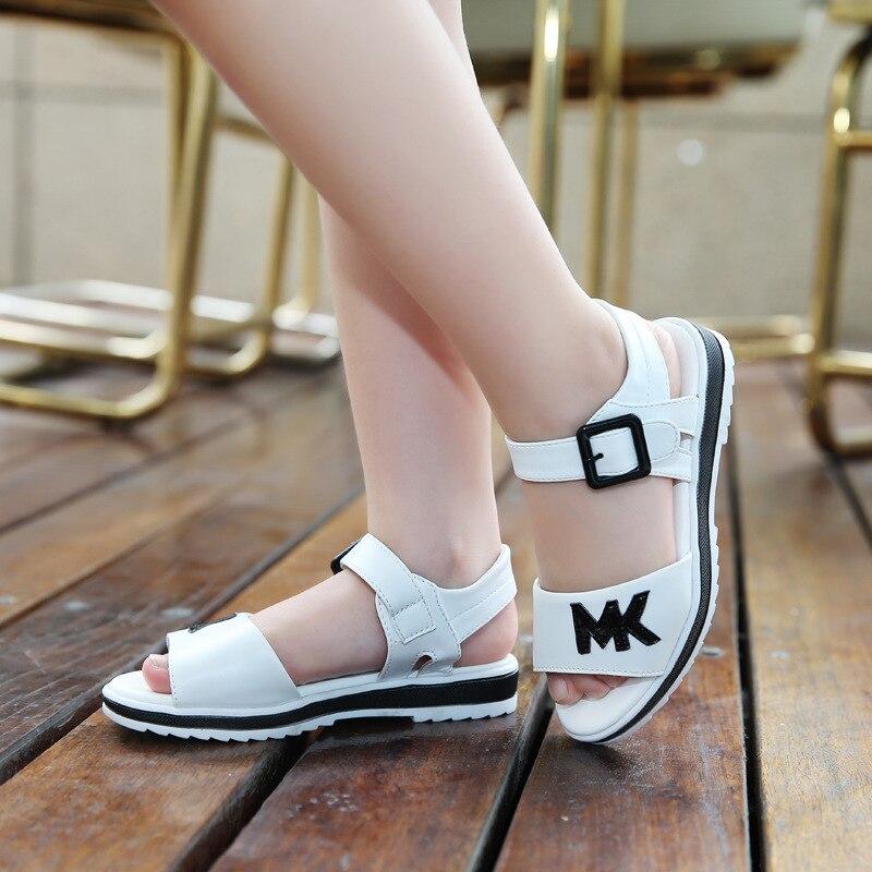 2020 NEW Girls Summer Sandals Children's Flats Shoes Girl Princess Little Girl Over The Children Shoes Size 27-37