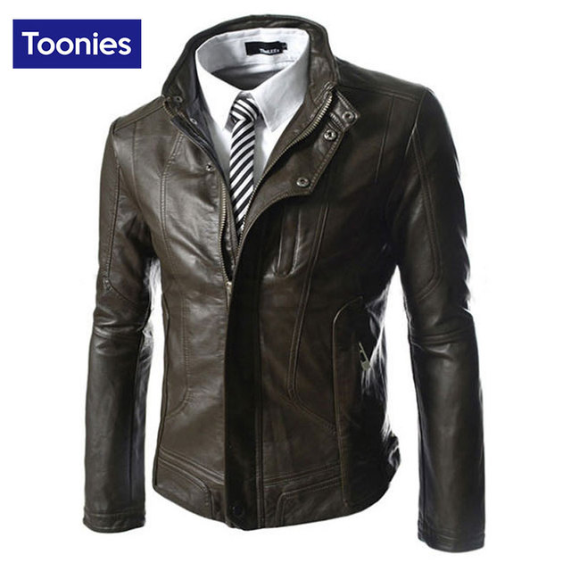 Men's Slim Faux Leather Jacket Overcoat Motrocycle Winter Fashion Collar Button Minimalist Style Business Men Jacket 2016 New