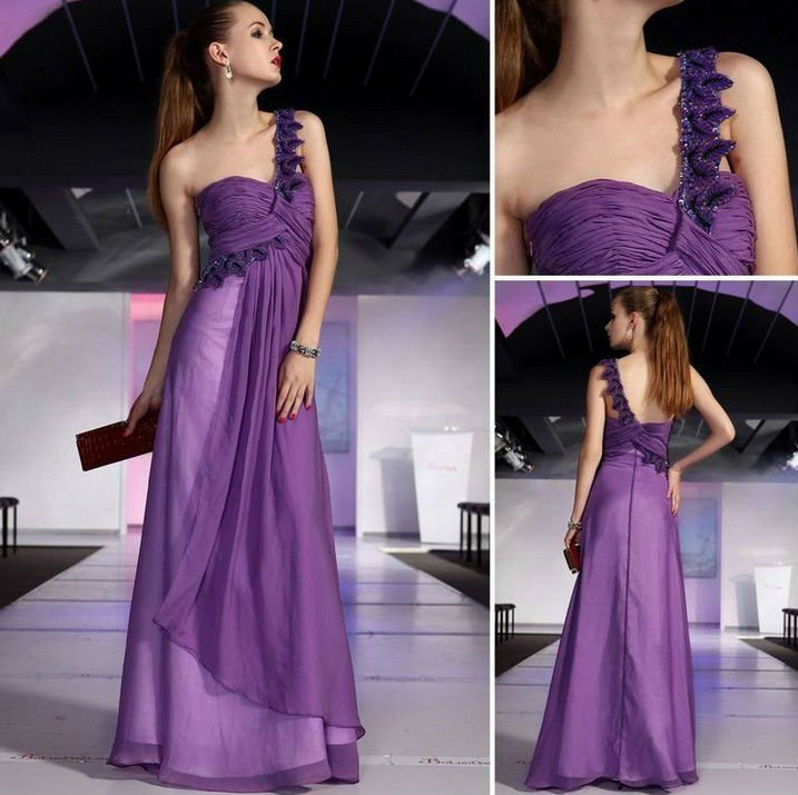 Light Purple Chiffon One Strap Flower Bridesmaid Dresses In From Weddings Events On Aliexpress Alibaba Group