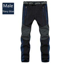 New cashmere men's and women's mountaineering trousers outdoor sports windproof waterproof thermal soft shell ski pants