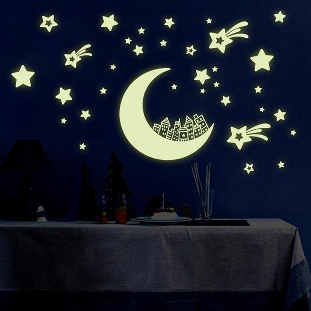 luminous moon stars wall stickers,diy night light glow in the dark