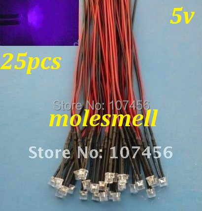 Free Shipping 25pcs 5mm Flat Top Purple LED Lamp Light Set Pre-Wired 5mm 5V DC Wired 5mm 5v Big/wide Angle Uv/purple Led