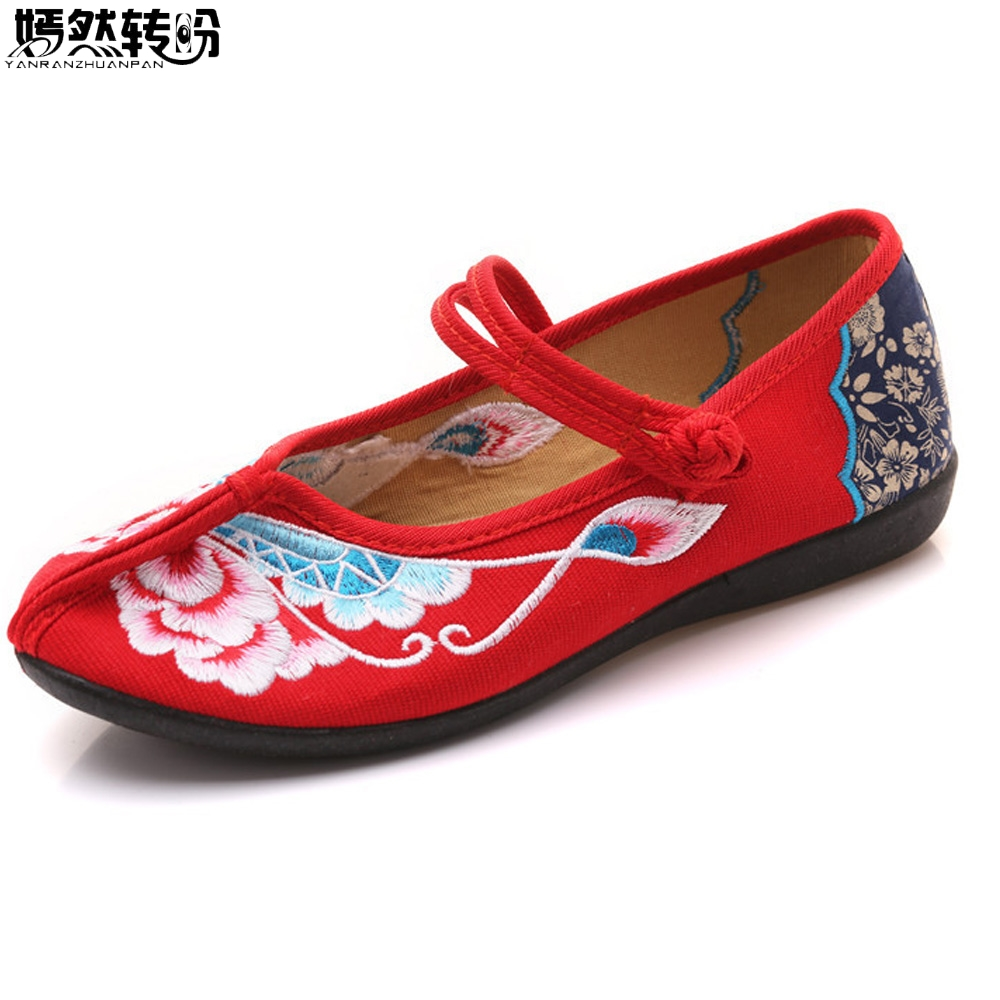 New Arrival Old Peking Women's Shoes Chinese Flats Heel With Flower Embroidery Comfortable Soft Canvas Shoes new women chinese traditional flower embroidered flats shoes casual comfortable soft canvas office career flats shoes g006