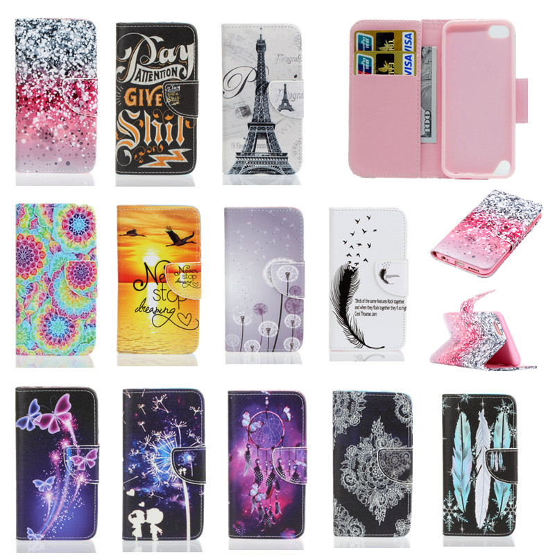 Wallet Case Cover For Apple iPod Touch 5 6 iTouch Leather Soft Silicone Fashion Tower Mobile Phone Bag Coque Etui Capinha Cases