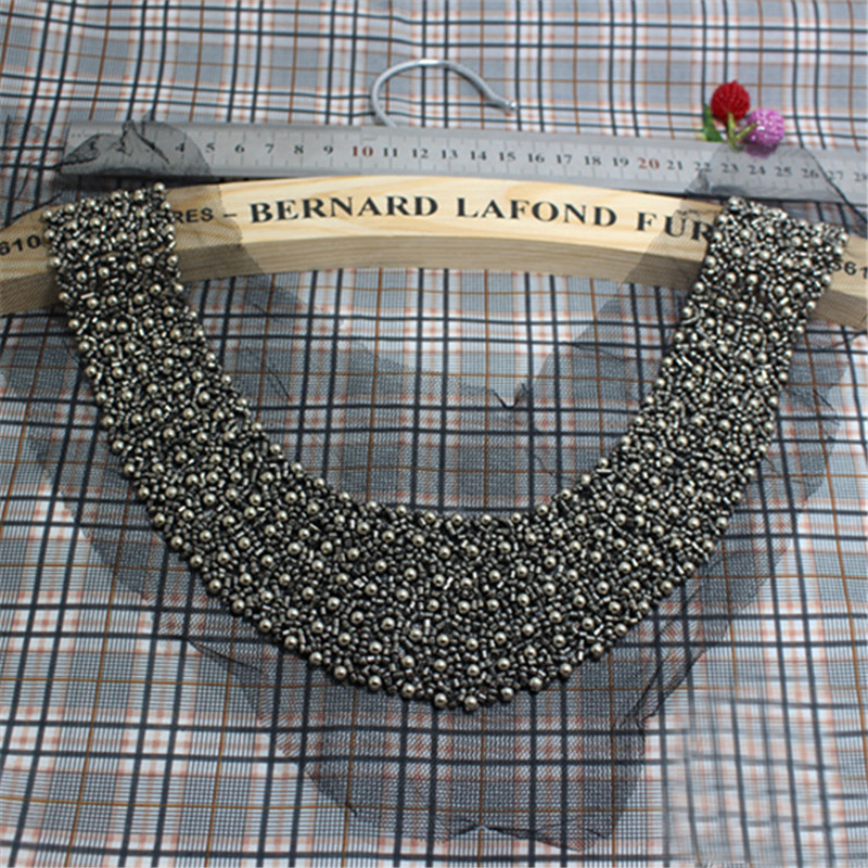1pcs Luxurious Braided Beads Lace Fabric Neckline Collar Decorative Necklace,Beads Trim Lace Collar Lady Dress Decoration