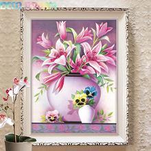 Diy Full Resin Round Diamond Painting Rhinestones Embroidery Kit Elegant Fresh Pink Lily Flower Mosaic Decor As Good Hobby Gift