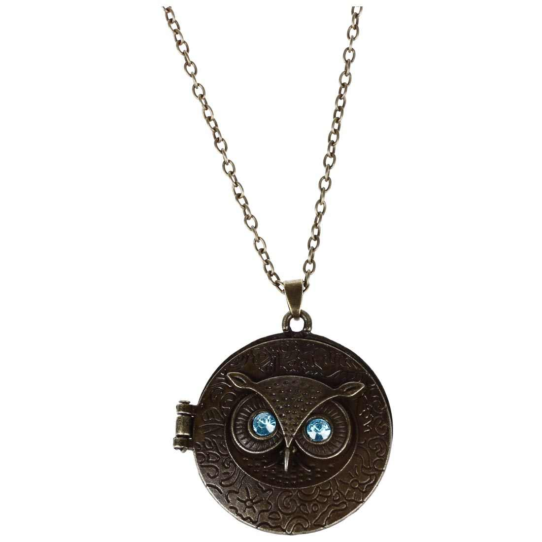 Antiqued ทองเหลือง VINTAGE Owl สร้อยคอยาวจี้ Blue Zircon Eye