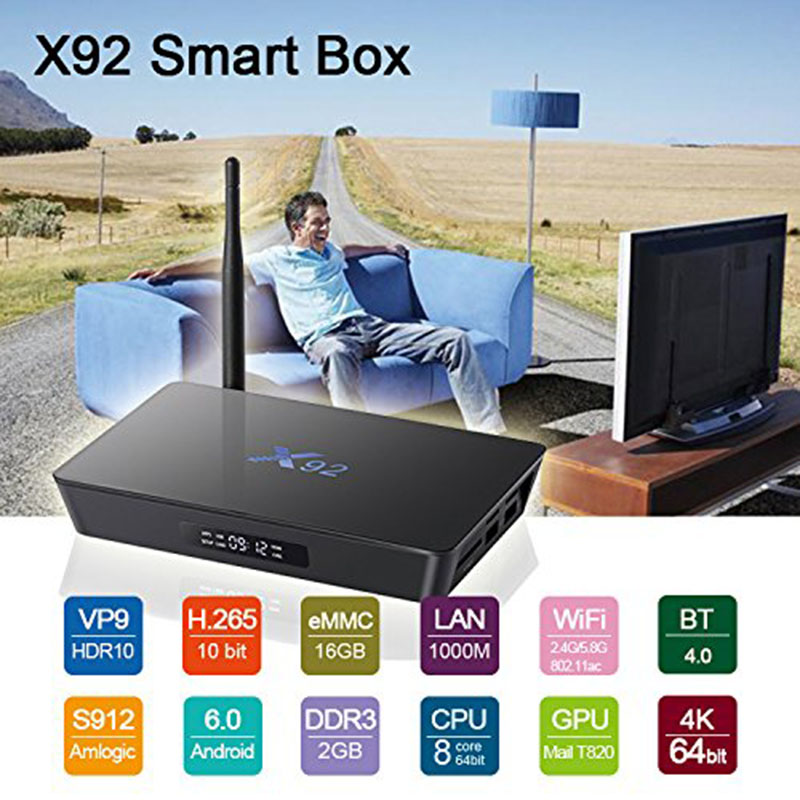 2018 X92 Smart Android 6.0 TV Box Amlogic S912 Octa Core 3GB 16GB 2.4GHz/5.8GHz Dual WiFi 4K*2K H.265 Media Player & LED display