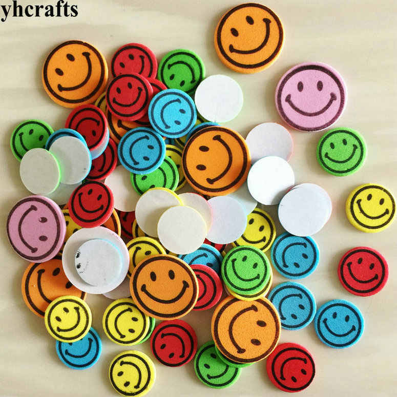 1bag(16-50PCS)/LOT.Colorful smile face foam stickers Early learning diy toys Activity items Kids room ornament Reward label gift