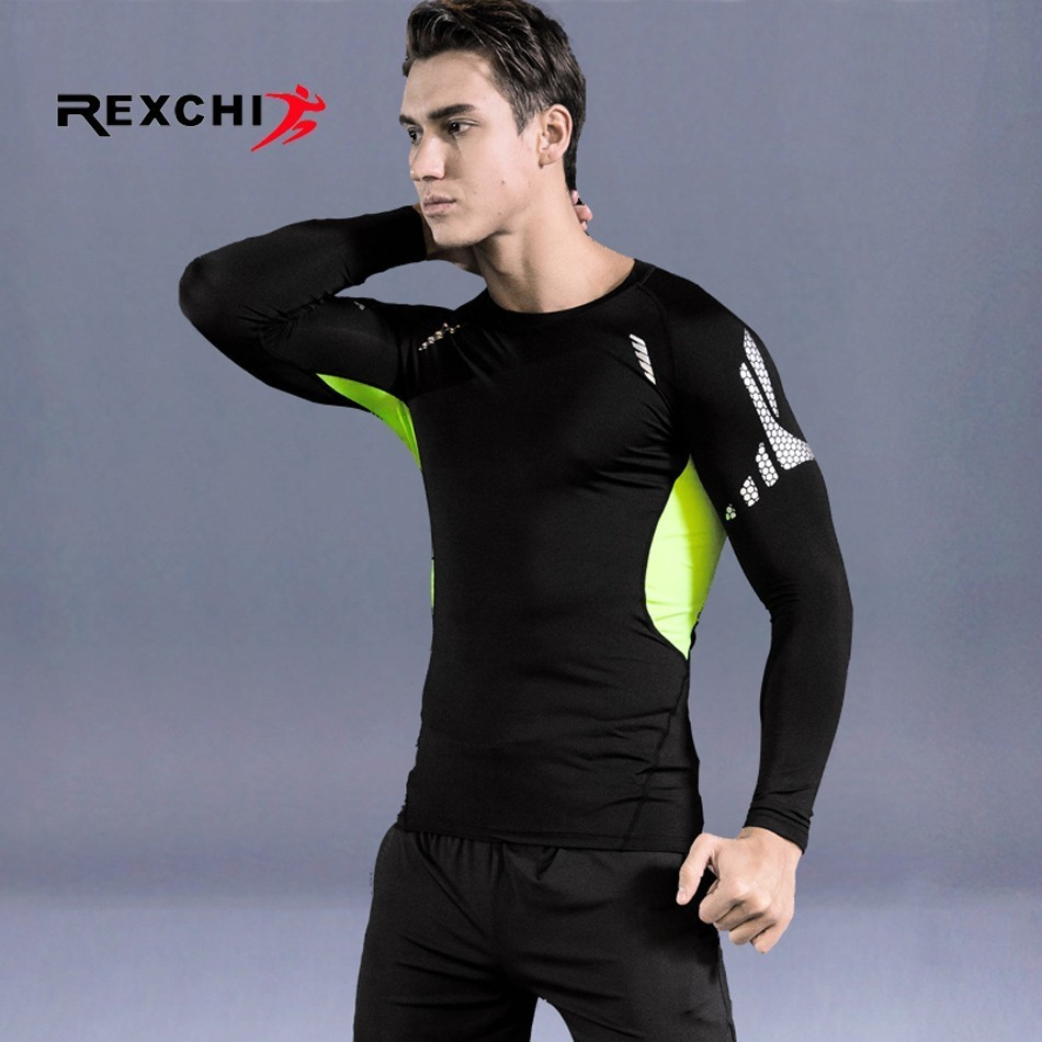 Men Sports Quick Drying Long Sleeves Compression Underwear Outdoor Running Jogging Clothes Gym Fitness Workout Tights Costume