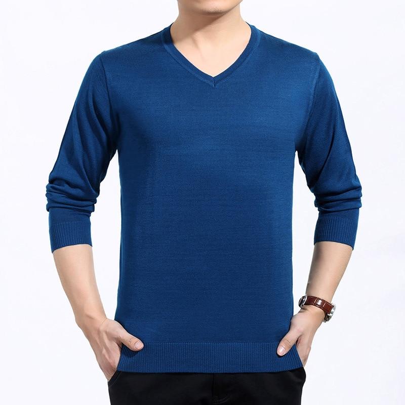 Брендовая новая мужская одежда зимний свитер с v-образным вырезом вязаный размер свободный пуловер Мужской пуловер плюс размер свитер бренд - Цвет: Blue