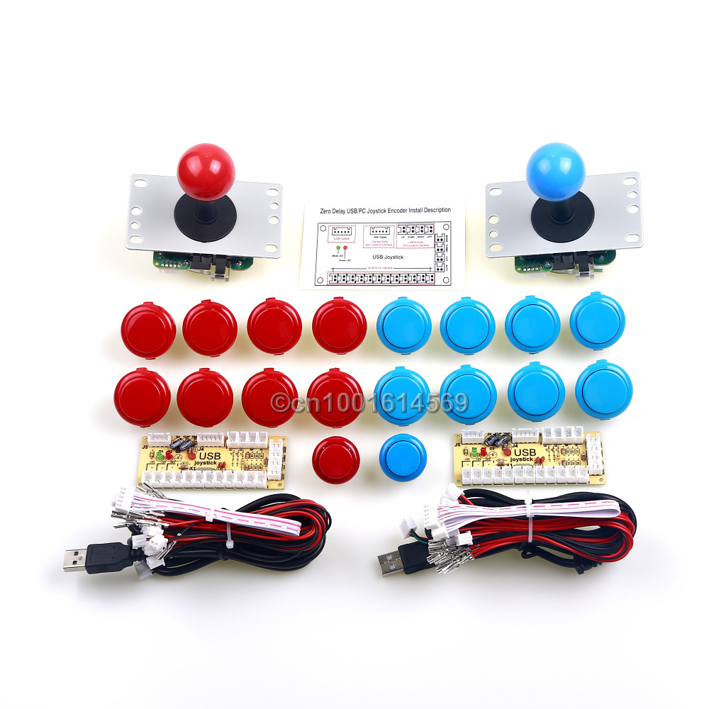 Arcade Joystick PC Computer Game 2 x Reyann Start Push Button + 16 x Sanwa OBSF-30 Button + USB Encoder To MAME Arcade Games DIY