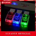 YUFANYF 2017 pendrive 3 colors Red / blue / green LED Volvo car LOGO USB falsh drive 4GB 8GB 16GB 32GB U Disk crystal gift
