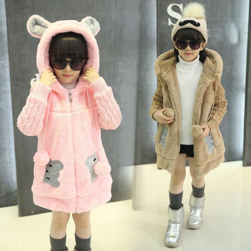 character faux fur patchwork girls coats thick warm long autumn children's winter jackets cartoon hooded pink khaki girl clothes