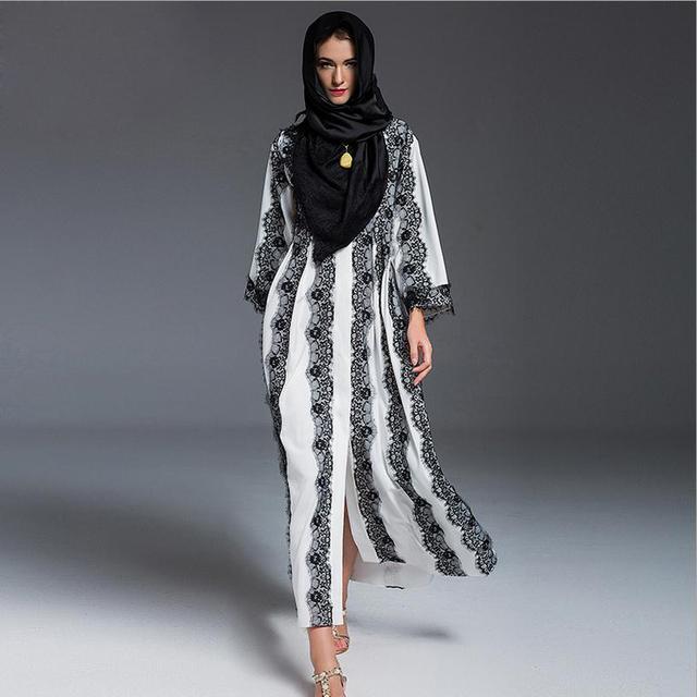 Плюс размер моды В Дубаи бренд Мусульманская Исламская платье взрослых печатных кружева чистый цвет абая большой размер Сингапур платье + шарф J16