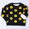 2017 Suéter Niño Otoño Ropa infantil de Invierno Suéter Cara Sonriente Niño Suéter Niños Suéter de Lana de Manga Larga Engrosamiento