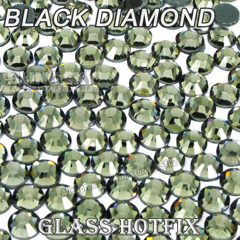Black Diamond BIG PACKAGE HotFix Rhinestones SS6 SS10 SS16 SS20 SS30 DMC Flat Back Crystal Glitters stone strass for DIY garment