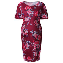 Bodycon Dresses Round Neck Short Sleeve Summer Mini Dress Office Ladies Slim Fit Women's Maternity Print MM6.2